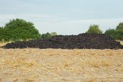 Dung heap. A dung heap on a mown grain field Royalty Free Stock Photos