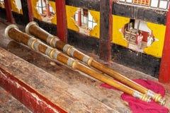 Dung, un corno tradizionale - Bhutan fotografie stock