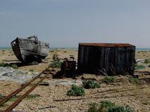 Dungeness beach with boats, Kent. Stock Image