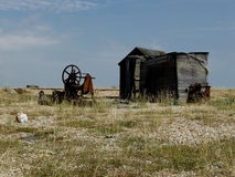 Dungeness beach with boats, Kent. Royalty Free Stock Image