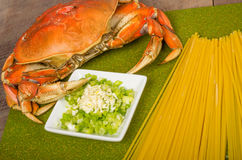 Dungeness crab and ingredients for pasta Stock Photo