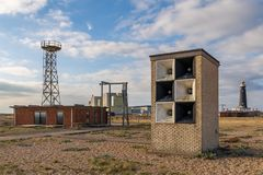 Dungeness elektrownia & Stara latarnia morska, Kent, UK obraz royalty free