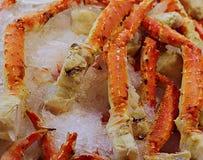 Dungeness-Krabbe auf einem Bett des Eises stockfoto