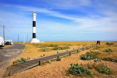 Dungeness latarni morskiej boardwalk Kent Zjednoczone Królestwo obrazy stock