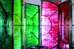 Dungeness-Leuchtturm rot und grün Stockfotografie
