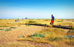 Dungeness nature reserve sightseers Kent United Kingdom. Trippers walking on the boardwalk in Dungeness is an enormous flat of sand and shingle which has been a Stock Images