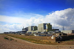 Dungeness Nuclear Power plant England. Dungeness nuclear power station on the Dungeness headland in the south east of Kent, England.The stations are built on the Royalty Free Stock Image