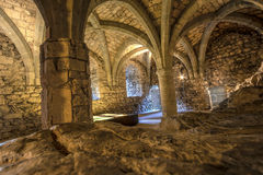 Dungeon of Chillon Castle, Switzerland. Inside the famous dungeon of Chillon Castle in Switzerland Royalty Free Stock Photography