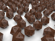 Dungeon and dragons dices. 3D render illustration of multiple dungeon and dragons dices. The dices are  on a white background with shadows Stock Photography