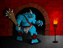 Dungeon Guardian. A giant troll equipped with a huge club guards his dungeon. No gradients were used in this illustration. Illustration is separated on layers Stock Photos