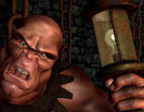 Dungeon Keeper. Portrait of a 3d rendering illustration as monsters with lamp Stock Image