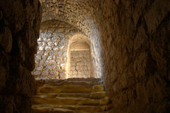 Dungeon steps. Steps inside the 12th Century Crusader castle at Karak, Jordan, once the Crusader's capital in that region but subsequently captured by Saladin royalty free stock image