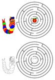 Dungeons and coloring books for children. Dungeons and coloring pages for kids with a caterpillar and apple - illustration Stock Photos