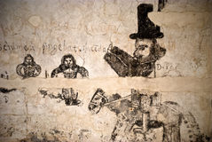 Dungeons of the Inquisition.graffiti. PALERMO, ITALY- JANUARY, 03-2013: Carcere dei penitenziati - Steri Palace-,open to the public the dungeons of the Royalty Free Stock Photos