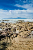 Dungun Beach. View of rocky beach at Dungun, Terengganu royalty free stock image
