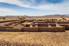 Dungur -女王Sheba的宫殿的废墟在 免版税库存照片
