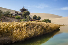Dunhuang in autumn. Crescent Spring and Mingyue Pavilion, Dunhuang of China Royalty Free Stock Image