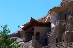 The Dunhuang Caves. In the cliff Royalty Free Stock Images