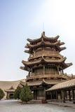 DUNHUANG, 11 CHINA-MAART: Mingyuepaviljoen in mingsha shan s Royalty-vrije Stock Afbeelding