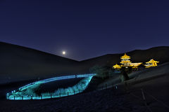 Dunhuang Mingsha Crescent Moon Spring Fotografie Stock Libere da Diritti