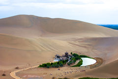 Dunhuang Mingsha scenic Crescent Lake scenery Stock Photos
