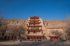 Dunhuang Mogao Grottoes nine-story. Gansu Dunhuang Mogao Peugeot nine-story building Stock Image