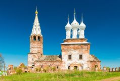 Dunilovo, Russia: View of The Church of The Holy Virgin. Dunilovo - May 2018, Russian Federation: The Church of The Holy Virgin, during a restoration project royalty free stock photos