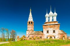 Dunilovo, Russia: View of The Church of The Holy Virgin, during the renovation  Royalty Free Stock Photos