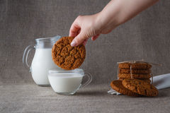 Dunk oat cookies Stock Images