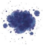 Dunkelblaue Aquarelltinte spritzt Lizenzfreie Stockfotografie