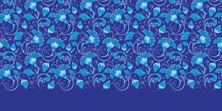 Dunkelblaue türkische horizontale mit Blumengrenze des Vektors Lizenzfreie Stockfotografie