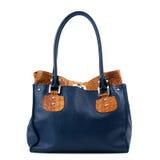 Dunkelblaue weibliche Handtasche lokalisiert auf weißem Hintergrund Stockfoto