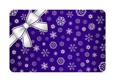 Dunkelblaue Weihnachtskarte mit silbernem Schnee blättert a ab Lizenzfreie Stockfotos