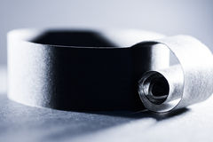 Dunkelblaue Zusammenfassung, Hintergrundbild einer Papierspirale Lizenzfreies Stockfoto