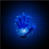 Dunkelblauer abstrakter digitaler Begriffstechnologiesicherheitshintergrund mit Verschluss Computertechnologie-Websiteinternet-Ne stock abbildung