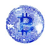 Dunkelblauer Druck von bitcoin auf Weiß lokalisierte Hintergrund Für das Design von virtuellen Dokumenten auf der Schlüsselwährun Stockbilder