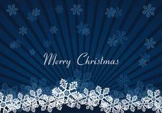 Dunkelblauer Hintergrund des Weihnachtsschnees Stockbilder