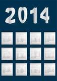 Dunkelblauer Kalender für 2014 Lizenzfreies Stockbild