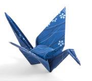 Dunkelblauer Origami Kran Lizenzfreies Stockbild