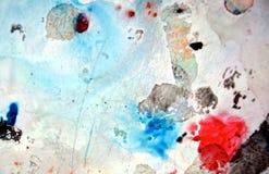Dunkelblauer roter Malereiaquarellhintergrund, abstrakte Farben der Malerei stockbilder