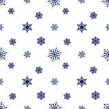 Dunkelblauer weißer Hintergrund der Schneeflocke Stockbild