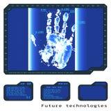 Dunkelblaues abstraktes digitales Begriffstechnologiesicherheit backgr vektor abbildung