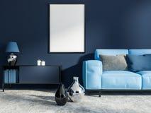 Dunkelblaues Wohnzimmer, blaues Sofa, Plakat stock abbildung