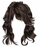 Dunkelbraune Farben modischen der Frau langen Brunette Haare Schönheitsmode lizenzfreie abbildung