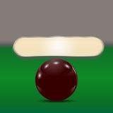 Dunkelbrauner Ball auf einem Billardtisch Der Spielball vor defekter Pyramide Abbildung Stockfoto