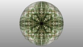 Dunkelgrüne magische Fractalmuster auf weißem Hintergrund Symmetrische Liveverzierung Livemandala für geistige exersises lizenzfreie abbildung
