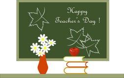 Dunkelgrüne Tafel mit weiße Beschriftung glücklichem Lehrer-Tag Stockfotografie