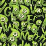 Dunkelgrüner nahtloser Hintergrund mit kleinen Monstern Stockbild