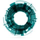 Dunkelgrüner Technologiekreis raster Stockfotografie