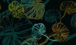 Dunkelgrünes pilzartiges botanisches Muster Lizenzfreies Stockfoto